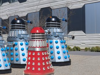 4 daleks in the science courtyard