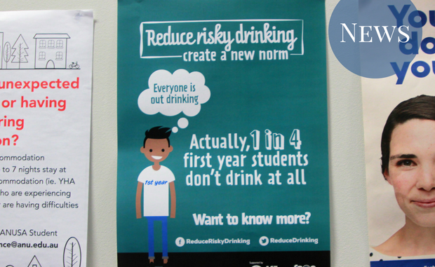 """A picture of a poster, with text """"Actually, 1 in 4 first years don't drink at all"""""""
