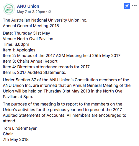 Post on the ANU Union Facebook page detailing time of their General Meeting