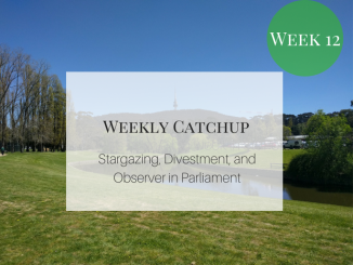 weekly catchup graphic with text 'Stargazing, Divestment, and Observer in Parliament