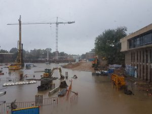 The construction site flooded