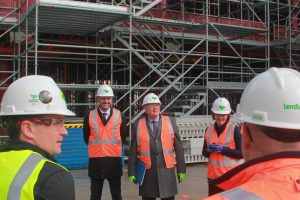 Brian Schmidt and Andrew Barr in hard hats and high vis vests