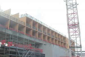 A picture of the new residential building, showing prefabricated timber rooms