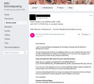A post on ANU Schmidtposting suggesting the email is spam.