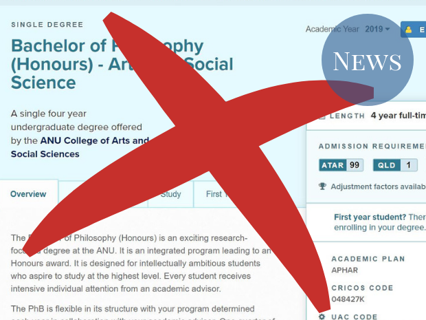 Programs and Courses image of PhB Arts with a red x over the top.