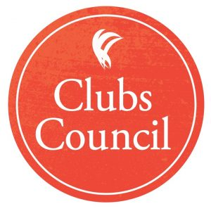 """A burnt orange circle, with the words """"clubs council"""" and the ANUSA logo inset in white"""
