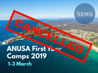 """Cover Photo for First Year Camps overlaid with """"cancelled"""" graphic"""